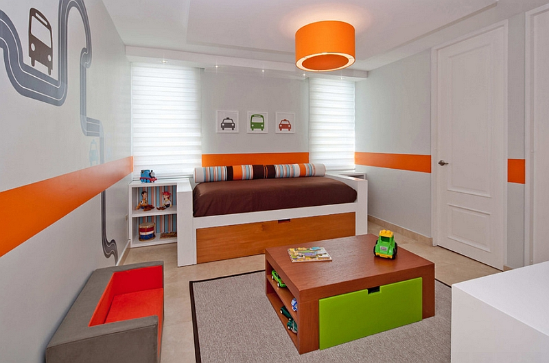 Orange is used to add a sense of cheer and joy to the playroom