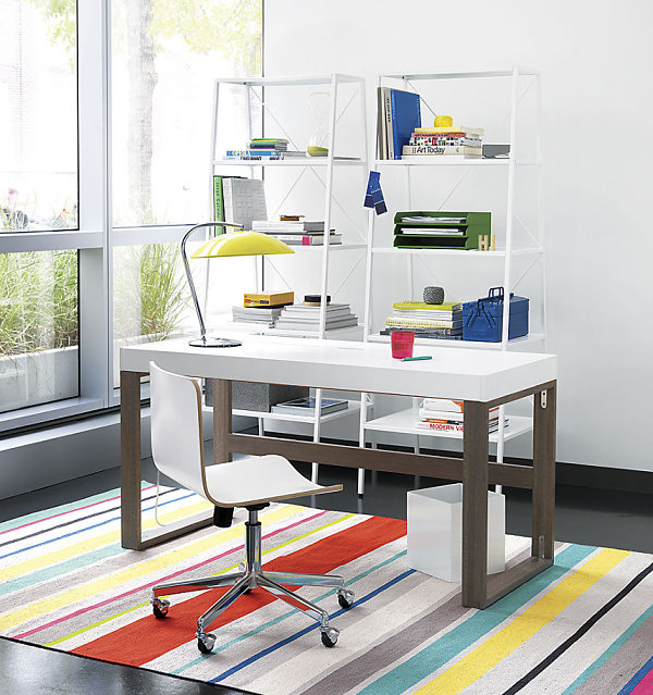 Organized work space with colorful accents