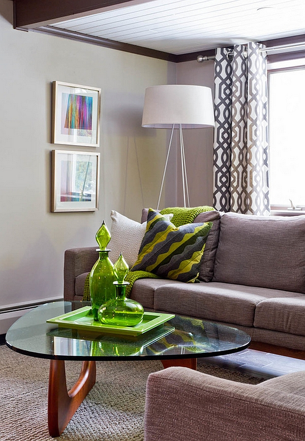 Oversized tripod floor lamp in the cozy living room in gray