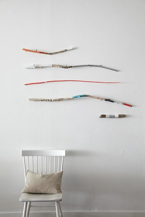 Painted stick wall art