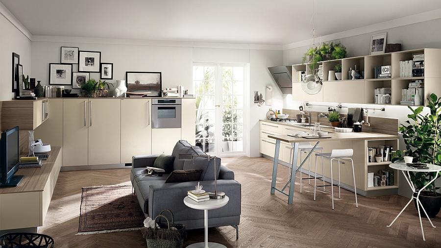 Perfect kitchen composition that goes along with the living room