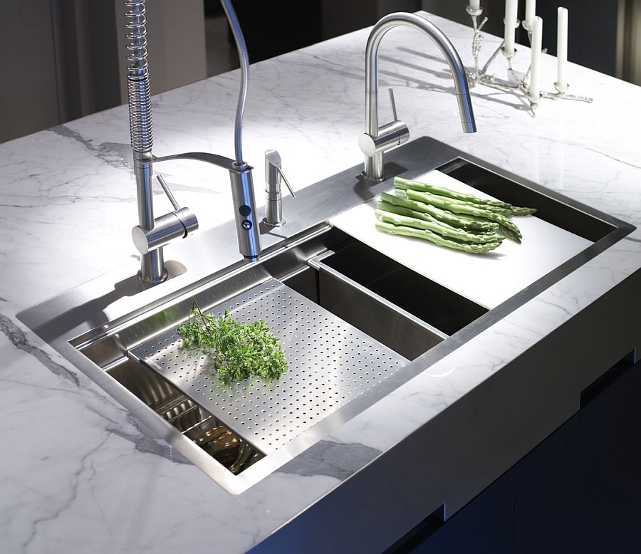 Pick the right kitchen faucets to complement your kitchen island style