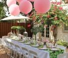 Pink balloons set a festive tone