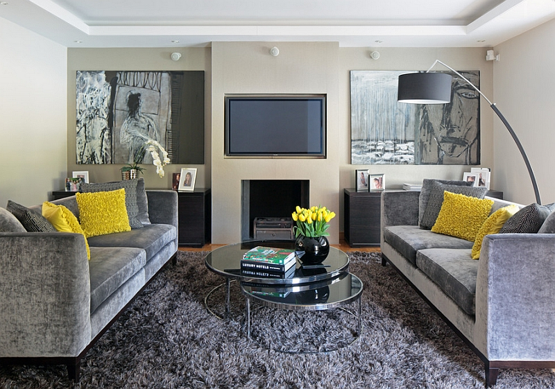 yellow and gray living room. View in gallery Plush rug brings visual coziness to the elegant living space Gray And Yellow Living Rooms  Photos Ideas Inspirations