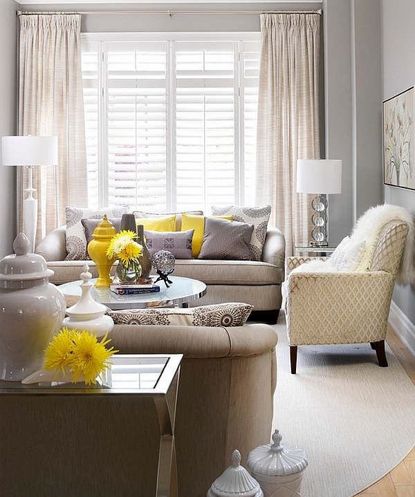 Pops of bright mango yellow bring cheerfulness to the living room