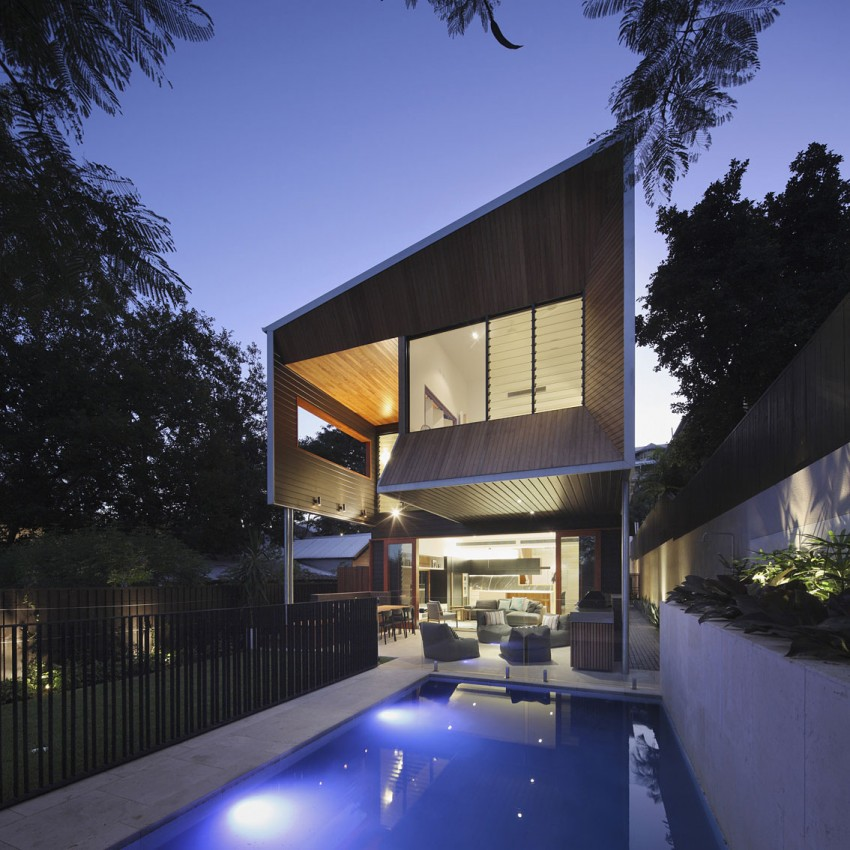 Rear of the Aussie home opens up towards the garden and the pool