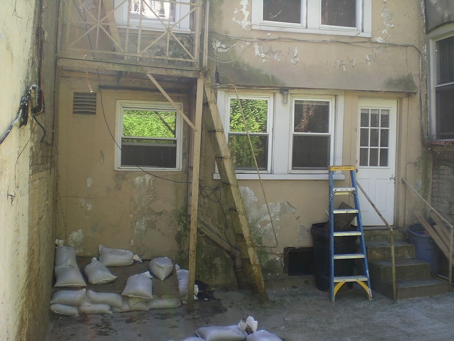 Rear of the house during the renovation process