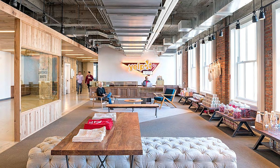 Reception area of the brand new Yelp Headquarters in San Francisco Yelp Headquarters Amazes With An Eclectic Blend Of Modern And Vintage