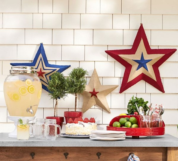 Red, white and blue burlap stars