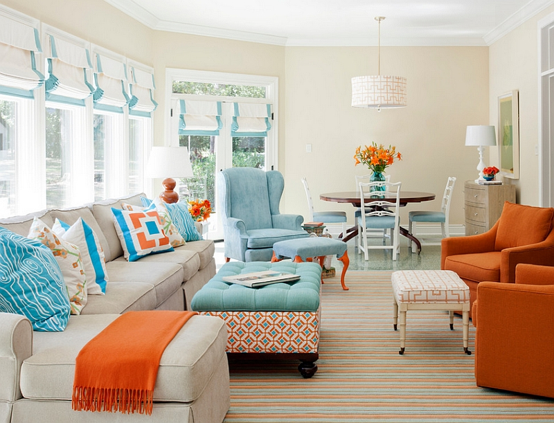 Refreshing pops of orange and blue in the living room