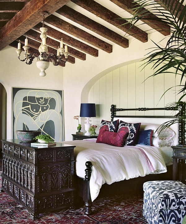 Relaxed and soothing bedroom with Bohemian prints and a Mediterranean appeal