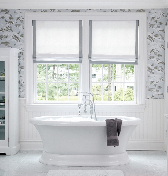 Relaxing contemporary bath in white with sleek Roman Shades