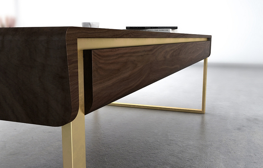 Ribbon coffee table in dark wood and geometric design