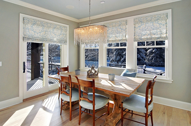 Style up your home this summer with cool roman shades for Dining room window treatments