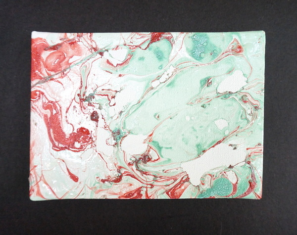 Rose and teal marble art