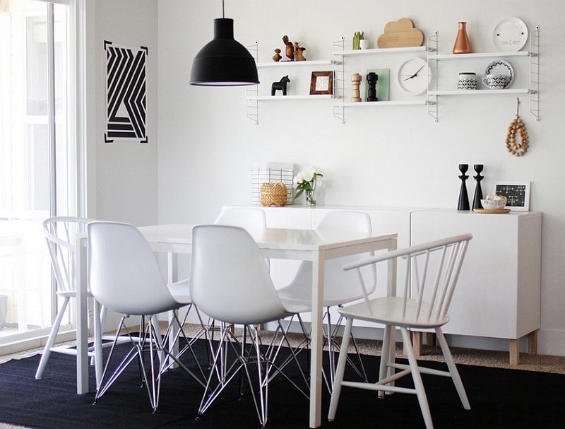 Scandinavian style dining room for those who wish to embrace the black and white look