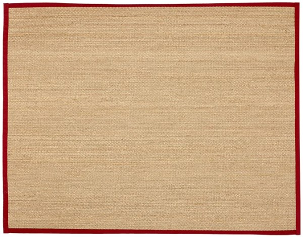 Seagrass rug with a red border