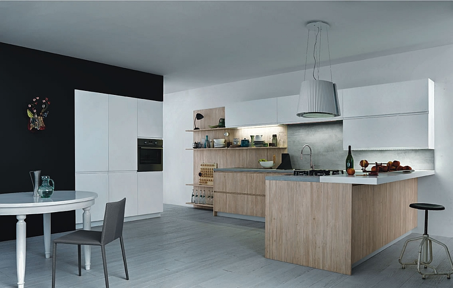 Simple design of the modern minimalist kitchen in a neutral color scheme