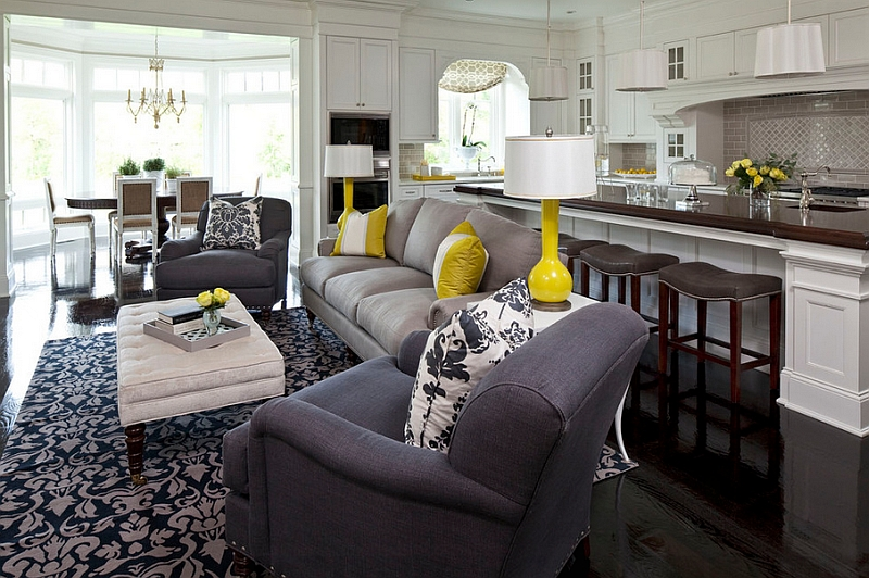 Gray and yellow living rooms photos ideas and inspirations Gray blue yellow living room