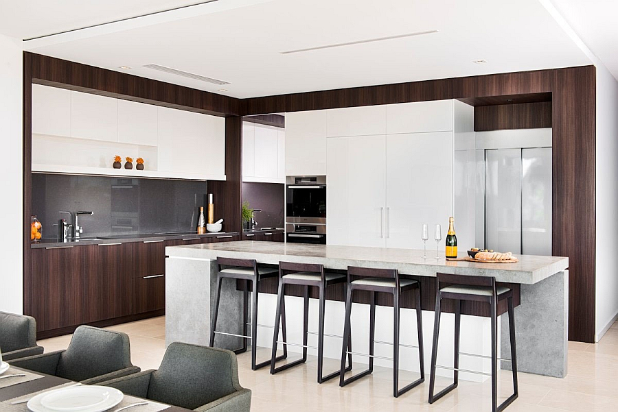 Sleek bar stools add to the contemporary appeal of the kitchen