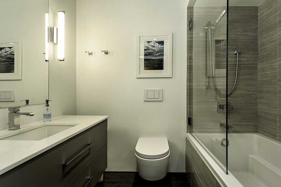 Sleek contemporray bathroom in white and grey