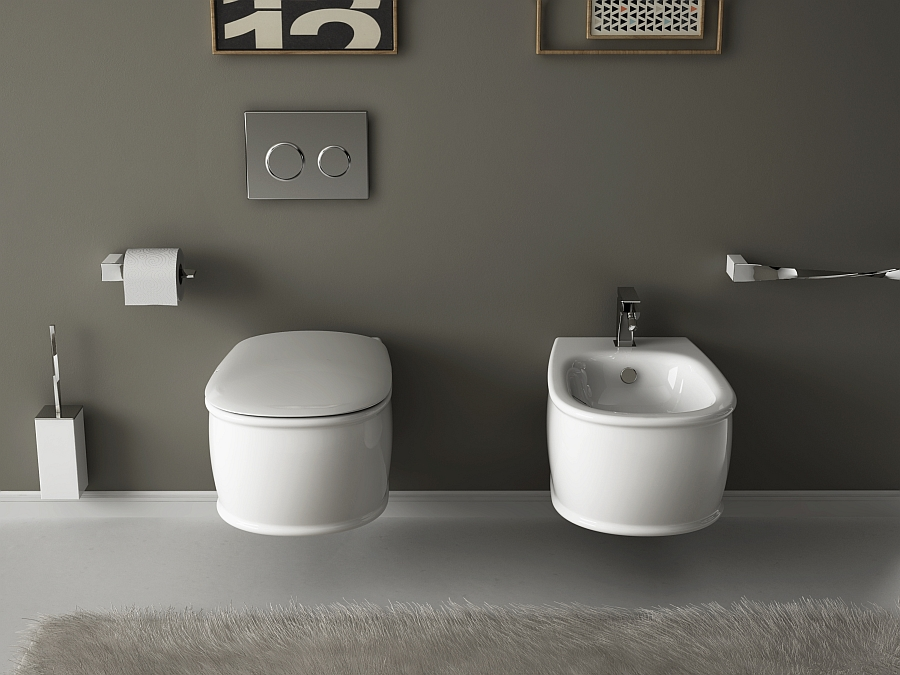Sleek design of the wc and bidet is accentuated by the round curves Wall Hung Sanitary Solutions For The Small, Space Conscious Bathroom