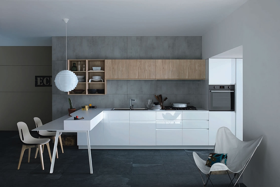 Sleek white cabinets and wooden shelves complement the exposed concrete backdrop of the kitchen
