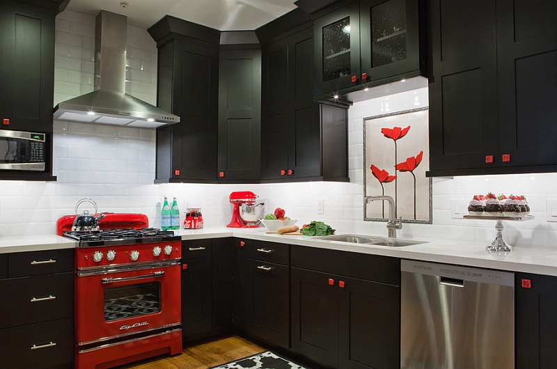 Small Black White And Red Kitchen Idea Awesome
