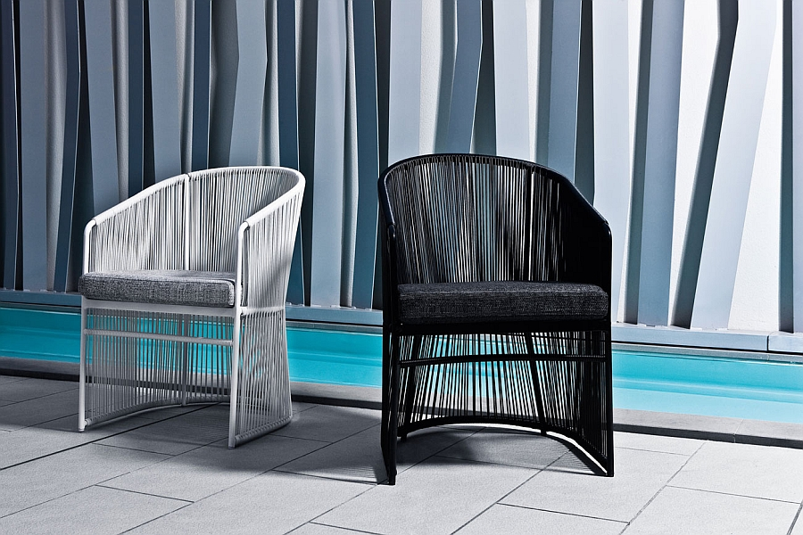 Smart and sturdy outdoor armchair in man-made fibre