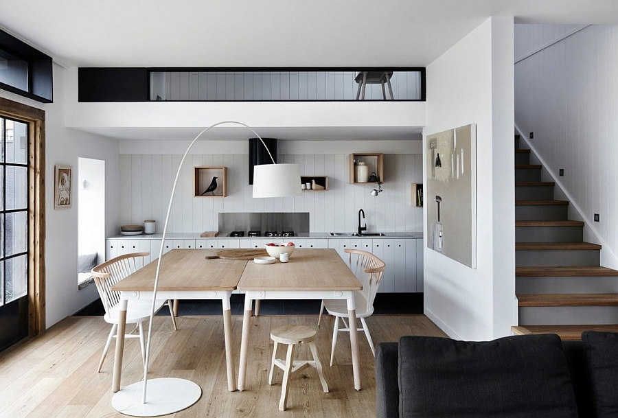 Smart dining space and kitchen with organic textures and relaxing hues