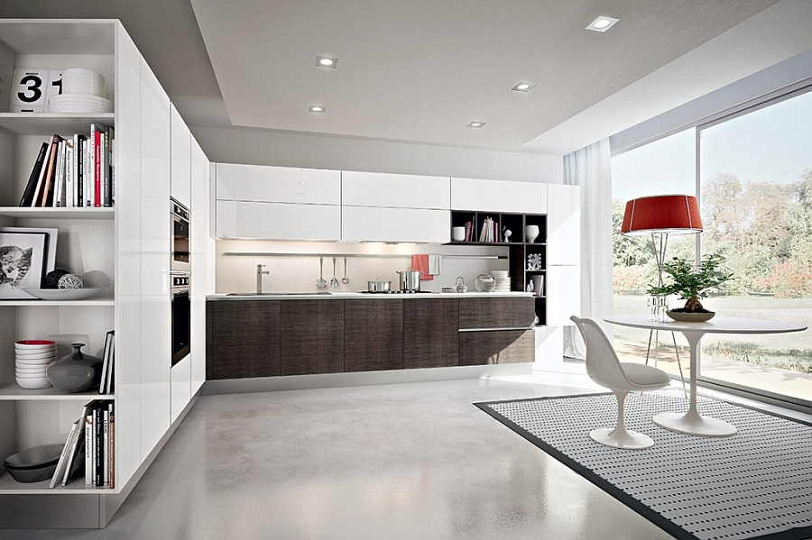 Smart kitchen shelves make ample use of the vertical space