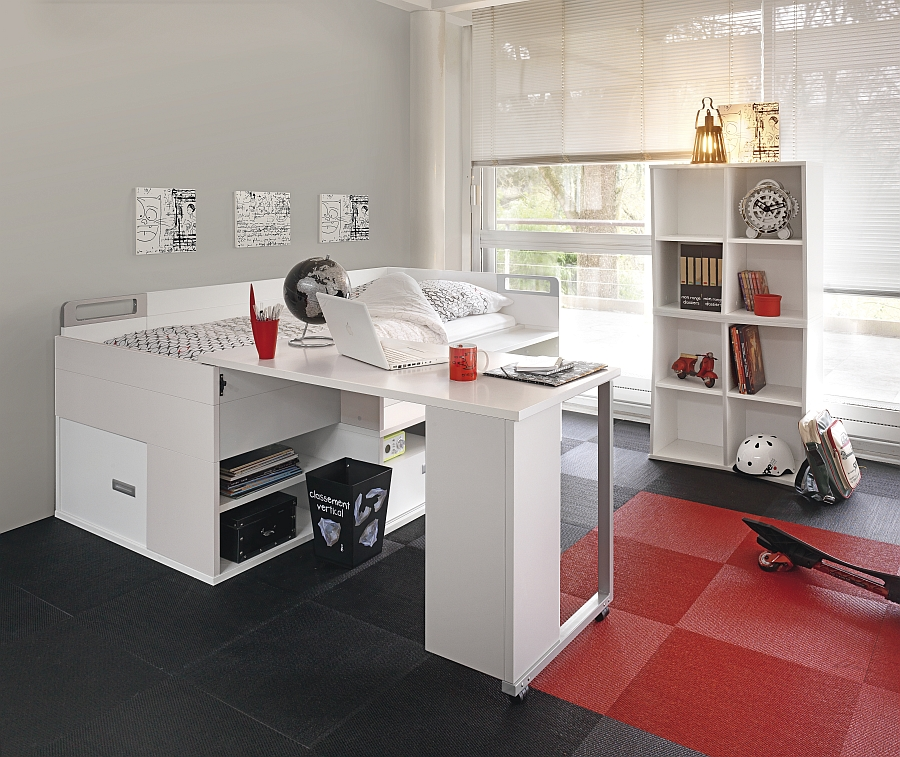 Smart modern bed that instantly transforms into a cool workstation