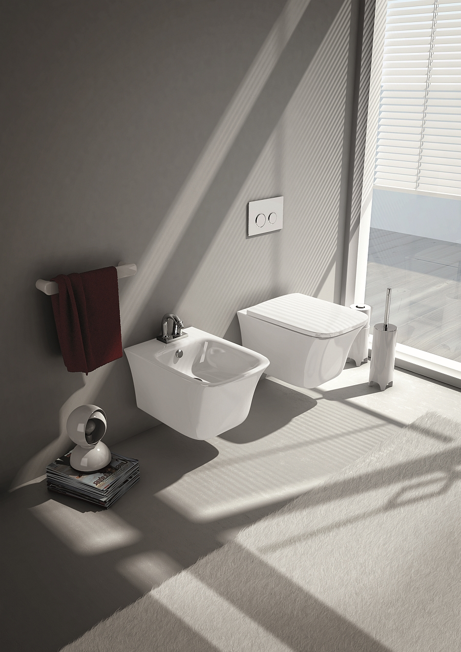 Smart wall mounted bidet and wc for the small bathroom