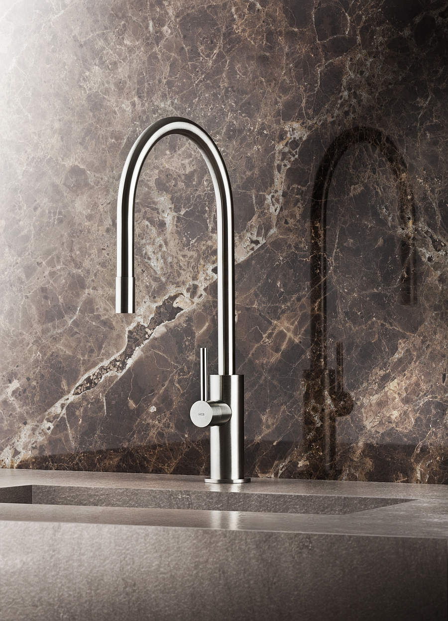 Solid stainless steel hand polished faucet Spin from MGS