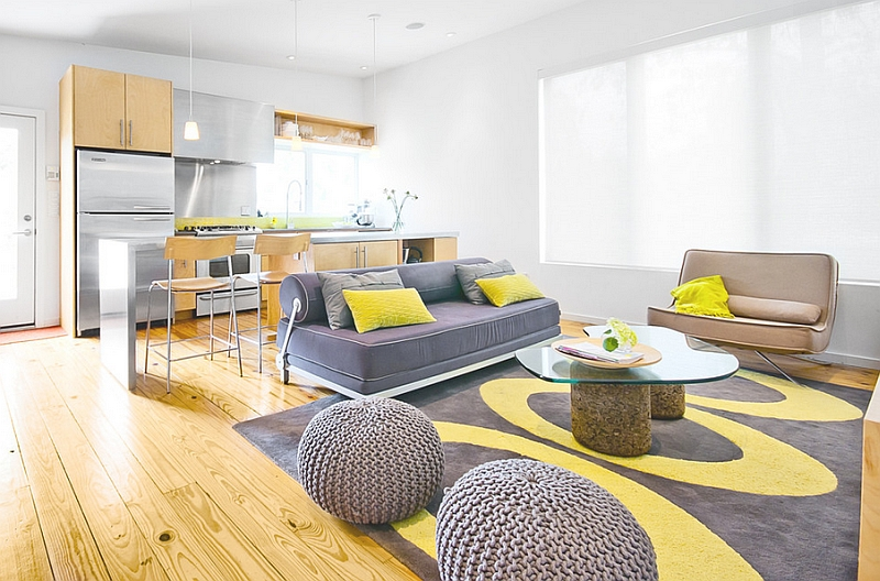 View in gallery Soothing, modern living room in yellow and gray