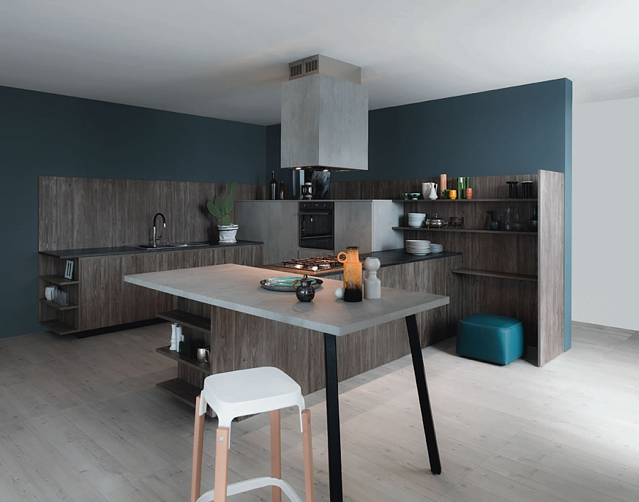 Functional and fashionable kitchen gives minimalism a - Couleur mur cuisine ...