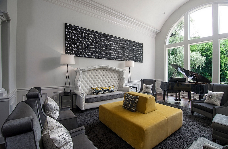 Modern Black House Bright Accents Gray And Yellow In The Living Room A Dash Of Elegant Sophistication