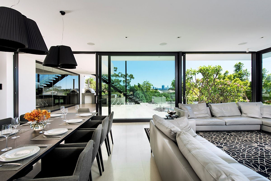 Spacious dining area with twin pendants in black above