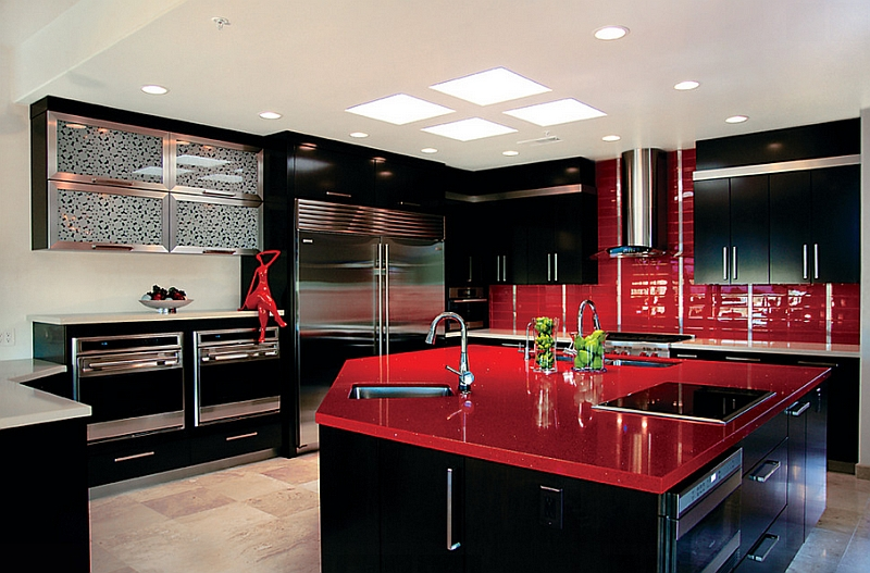 Red black and white interiors living rooms kitchens for Dark red kitchen cabinets