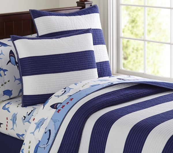 Striped bedding with shark sheets