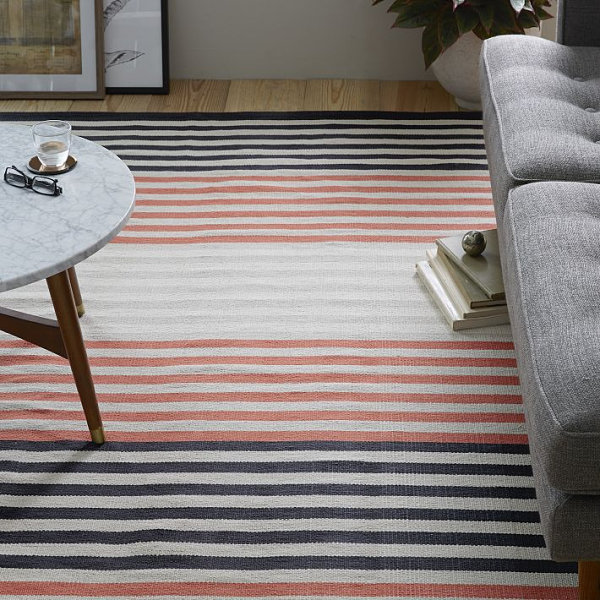 Striped cotton dhurrie rug
