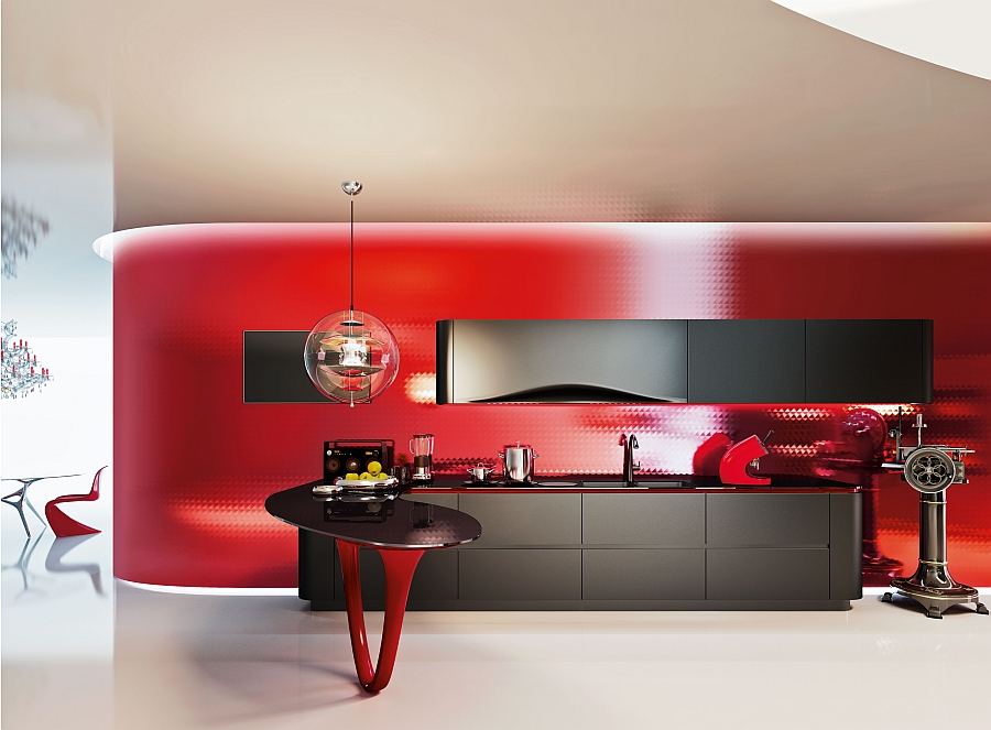Stunning contemporary kitchen in red and black insppired by the Ferrari