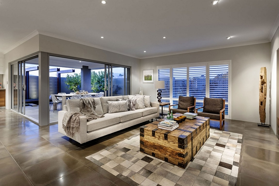 Stunning living space with a unique coffee table and wooden elements