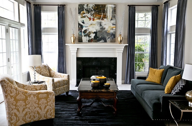 Stunning living space with platinum silk draperies in charcoal grey and golden yellow decor