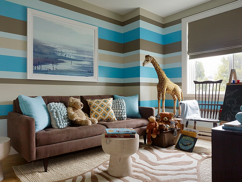 Stylish boys' bedroom in Cocoa brown and turquoise looks truly amazing