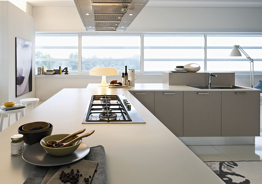 Stylish kitchen is available in both trendy corain and quartz worktops