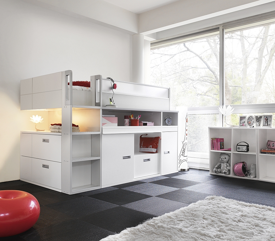 Stylish Top Bunk Bed With Storage And Workdesk Underneath