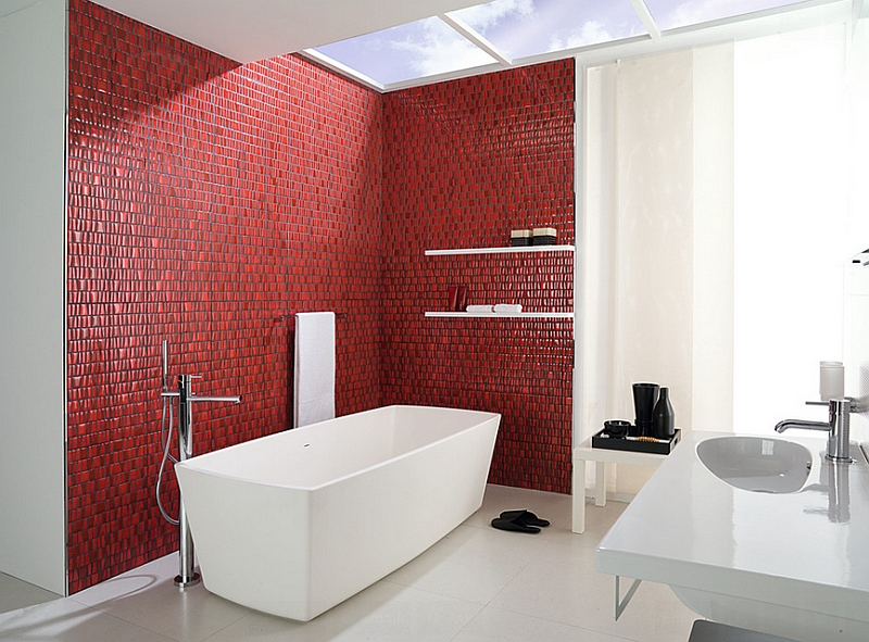 Subtle black grout between the red tiles makes a big visual impact in this stunning spa-like bath