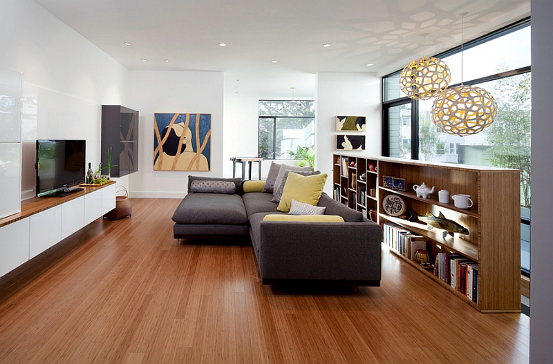 Subtle use of yellow and gray in the living room