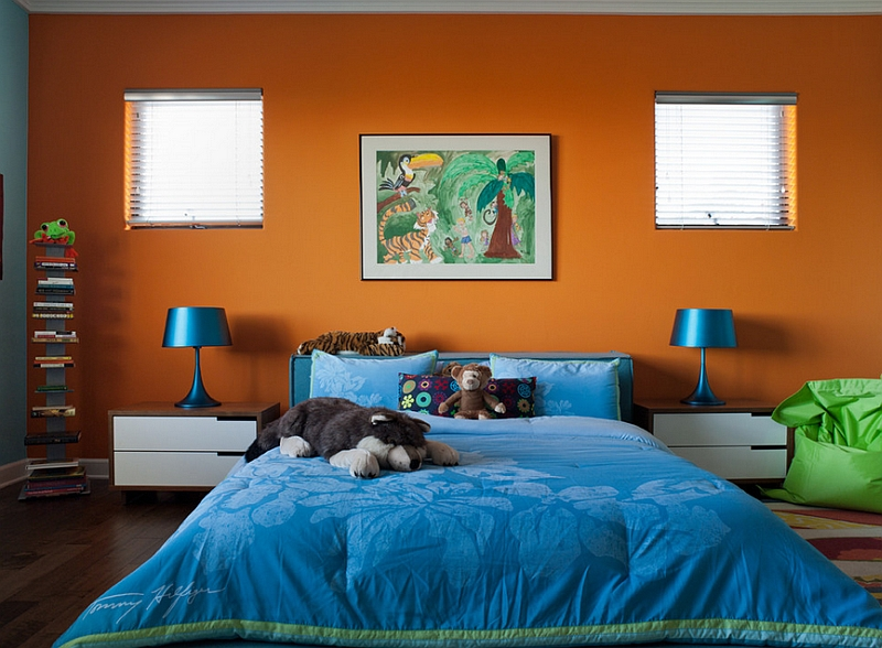 Super hot and trendy colorful kids' bedroom in orange and blue